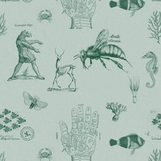 For Holly's apartment ideas. vintages green fabric by ravynka on Spoonflower - custom fabric