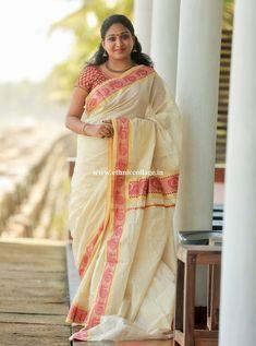 Kerala Saree, Indian Sarees, Set Saree, Kasavu Saree, Fashion Ideas, Girl Fashion, Costumes Around The World, Minimal Look, Jennifer Winget