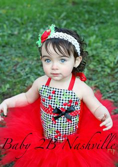 Baby Birthday Tutu Set in Cherries and Gingham by Baby2BNashville, $60.00