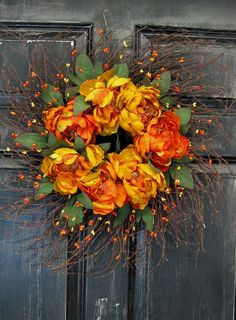 Fall Front Door Wreath Fall Floral Wreath by Designawreath