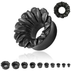 MORE SIZES: Hand-Carved Ebony Wood Lotus Flower Tunnel. Sizes 6.5mm - 19mm. From £6.99.