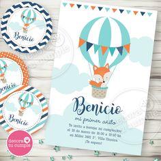 Kit imprimible personalizado globo aerostático y zorrito viajero Doodles, Baby Shawer, Doodle Lettering, Woodland Party, Woodland Animals, Baby Birthday, Christening, Quilling, First Birthdays