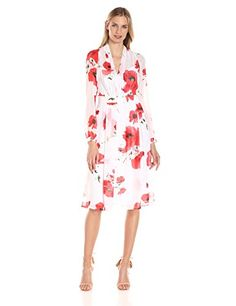 Anne Klein Women's Printed Long Sleeve V Neck Fit and Flare Dress  http://stylexotic.com/anne-klein-womens-printed-long-sleeve-v-neck-fit-and-flare-dress/