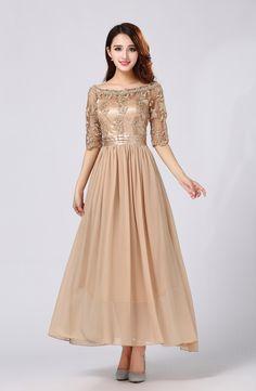 #ชุดราตรียาว ใส่ออกงานสวยหรู ตัวเสื้อผ้าลูกไม้ปักลายสีน้ำตาลทอง ราคา 990 บาท ส่งฟรี EMS (line) thaishoponline (โทร) 083-4956364 (ต้อม)