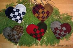 Woven Wool Heart Ornaments...hand dyed wool and cotton thread...stuffed with wool roving and a bit of spice for the holidays!