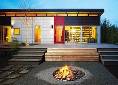 Red, white & black...like the use of colour & the clerestory windows...and the fire pit too!!