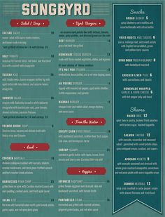Songbyrd Music House & Record Cafe || Menu || Washington, DC