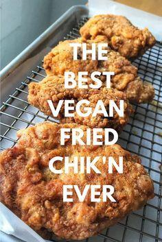 The Best Vegan Vegetarian Southern Fried Chicken Chik'n Seitan – TephraVegan_Saving for recipe links below. Vegan Fried Chicken, Whole Food Recipes, Cooking Recipes, Cooking Tips, Cooking Games, Plat Vegan, Vegan Fries, Vegan Main Dishes, Base Foods