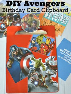 DIY Avengers Card Clipboard - Make an easy craft with recycled birthday cards [Ad] Easy Crafts For Kids, Art For Kids, Diy And Crafts, Kids Fun, Comic Book Crafts, Comic Books, Avengers Crafts, Funky Painted Furniture, Decoupage Furniture