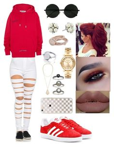 """""""😛😜"""" by msroro12 ❤ liked on Polyvore featuring Off-White, adidas Originals, Carolee, Lola Rose, Kendra Scott, Michael Kors, Honora and Rifle Paper Co"""