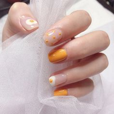 Apr 2020 - Hot egg taro orange,Coffin Nails- Fake Nails- False Nails- Faux Nails- Press on Nails- Press Ons- Stick on Nails- Glue on Nails- Matte Nails by Comebackshop on Etsy Stick On Nails, Glue On Nails, My Nails, Cute Gel Nails, Yellow Nails Design, Yellow Nail Art, White Nail, Daisy Nail Art, Colorful Nail Art