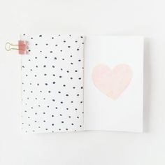painted heart and polka dot art journal page by hopscotchlane at @studio_calico