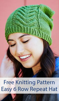 Free Knitting Pattern for Easy 6 Row Repeat Road to Success Chic Hat - Slouchy hat with a 6 row repeat staghorn cable. Designed by Marly Bird for Red Knit Slouchy Hat Pattern, Easy Knit Hat, Cable Knit Hat, Easy Knitting, Knitted Hats, Crochet Hats, Baby Knitting Patterns, Success, Knits