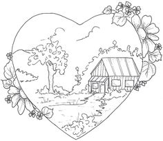Cottage Crafts: 4 Free Patterns - for Embroidery - Applique - Sewing - Digital Art - Line Art - Clip Art - Scrapbooking - Cottage with Daisies - Folk Art Birds - Hearts - Flower