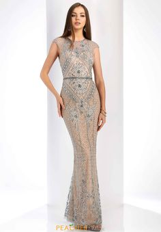 bf3d24a29c0 Clarisse Beaded Fitted Dress in Gray Nude Open Back Prom Dresses