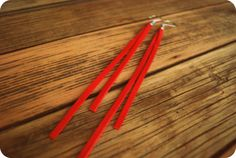 Red Leather Strip Earrings by LoneCrow on Etsy, $11.00