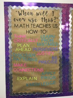 Love this bulletin board idea Math Teacher, Teaching Math, Teacher Stuff, Teaching Resources, Math Classroom Decorations, Classroom Ideas, Maths Classroom Displays, Maths Display, Modern Classroom