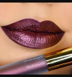 Gerard Cosmetics Metal-Matte Liquid Lipstick in Underworld Lipstick Art, Lipstick Colors, Liquid Lipstick, Lipstick Shades, Lipsticks, Skin Makeup, Eyeshadow Makeup, Beauty Makeup, Dark Red Lips