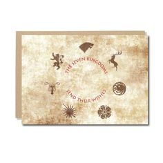Game of Thrones Geeky ChristmasCard -Seven Kingdoms send their WishesBirthday Christmas Card, Game of Thrones greetings card, Seven Kingdoms birthday Christmas card.Send your Birthday or Christmas wishes with this lovely greetings card, inspired by the TV show Game of Thrones and the book saga A Song of Ice and Fire. ...