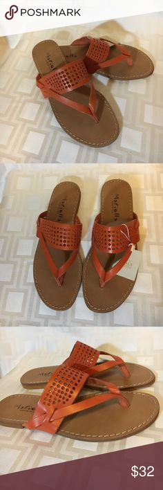 Lovely Italian-made Leather Mariella Sandals - 7.5 Perforated Leather with strappy thong. Very slight heel (almost flat) for comfort. Wearable, yet so beautiful, these dream sandals will complement or match all your medium to bright orange Posh outfits! Mariella Shoes Sandals