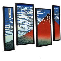 ArtWall Katsushika Hokusai Red Fuji 4-Piece Floater Framed Canvas Staggered Set, Size: 36 x 54, Blue