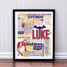 Superhero Custom Pottery Barn Print Decor- Personalized Large Typography Poster- 16  x 20