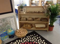 Small world/construction area. All resources are as non prescriptive as possible opening up the scope for different uses, and are changed half termly to match the children's current needs and interests.
