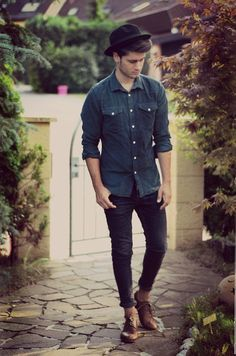 male model in black hat, blue shirt, black jeans and brown shoes