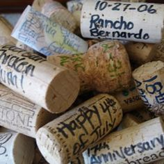 Wine cork journaling.. Sign a cork with friends and keep them out in a clear vase