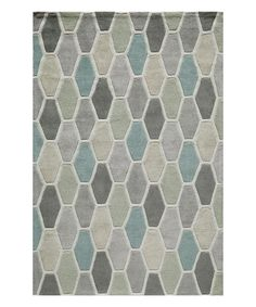 Living room. Good colors to blend warm earth tone couch and cool gray tone walls.  Look at this Gray & Teal Geometric Rug on #zulily today!