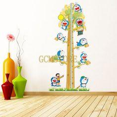Creative Cartoon Doraemon Height Ruler Wall Stickers & Decals Removable Waterproof for Kids & Nursery
