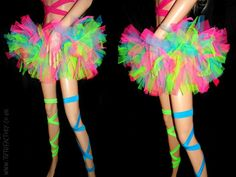 Neon Tutu Multi Colour Tutu Super Poofy Stick Out by tutufactory Glow Party Outfit, Neon Party Outfits, Rave Girl Outfits, Tutu En Tulle, Neon Tutu, Disfraz Wonder Woman, Vestidos Neon, Neon Birthday, Rainbow Tutu