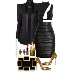 New Years by highfashionfiles on Polyvore featuring Balmain, Sondra Roberts, Erickson Beamon and Christian Louboutin