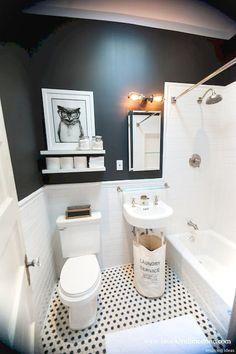 Brooklyn Limestone: Black and White Bathroom Mini Makeover Complete 65 Most Popular Small Bathroom Remodel Ideas on a Budget in 2018 Bathtub Surround, Diy Bathroom, Black White Bathrooms, Modern Small Bathrooms, Bathroom Makeover, Bathroom Renovations, Tiny Bathroom, Bathroom Design, Bathroom Decor