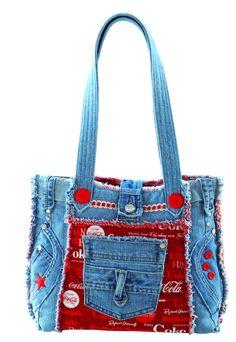 Denim Delight – Quilting Books Patterns and Notions Bag Jeans, Denim Tote Bags, Denim Handbags, Denim Purse, Tote Purse, Blue Jean Purses, Bags Travel, Purse Patterns, Tote Pattern