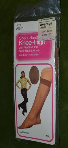 68d4a3e4d7f Vintage Women Jcpenney Sheer Sandalfoot Knee High Nude heel toe AVERAGE  Gala  JcPenney  kneehighs