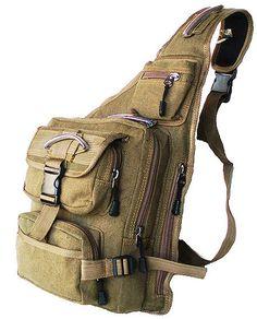 Military Inspired Canvas Sling Bag Backpack Bookbag Khaki Green