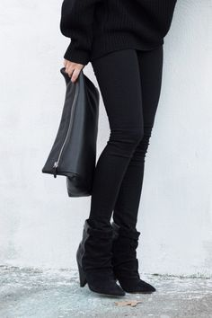 All black. Isabel Marant Andrew suede and leather ankle boots. Figtny.com | outfit • 80