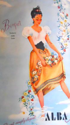 1946, Charm Magazine 40s color illustration print ad peasant dress blouse skirt white tan yellow gold embroidered wide yoke belt black ethnic german dirndl vintage fashion style 40s era