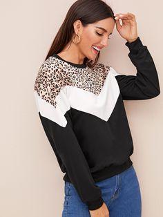 shine-hearty Contrast Panel Leopard Sweatshirt Black Long Sleeve Round Neck Fashion Women Streetwear