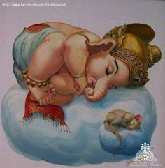 Charming image of a sleepy little Ganesha and Musika vahana