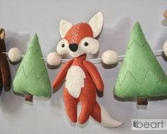 Woodland felt animals nursery garland fox bear deer | Etsy Forest Baby Showers, Forest Theme, Unisex Gifts, Felt Decorations, Animal Nursery, Felt Animals, Woodland Animals, Wool Felt, Nursery Decor