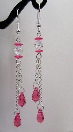Rose Pink Teardrop Earrings Chain by MoYuenCreations on Etsy, $16.00
