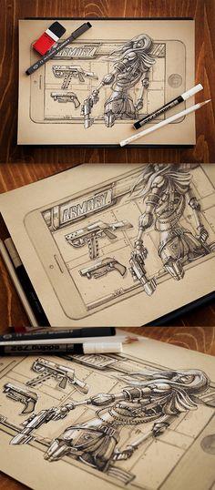 Design de personagens de games pelo artísta tcheco Mike.