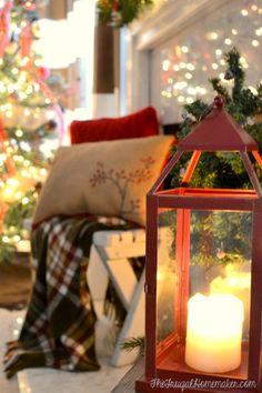 red lantern on hearth - Christmas mantel