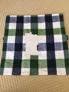 "Minnesota Pillow Cover ~  20' x 20"" Decorative Flannel MN Pillow Case ~ UPcycled ~ MN Appliqué ~ Great Gift  for Home ~ DIY Skils needed ~ by ArtThatCooks on Etsy"