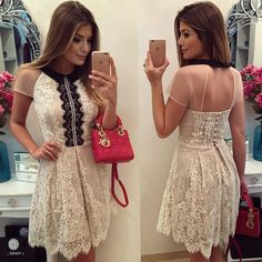 Lady Like, Girly Girl Outfits, White Outfits, Beautiful Dresses, Nice Dresses, Formal Dresses, Dress Skirt, Lace Dress, Party Wear