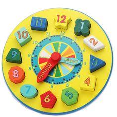 Kids Baby Brain DIY Jigsaw Puzzle Wooden Clock Geometric Shape Children Educational toys - babykidshandmade