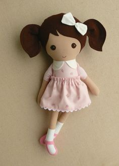 Fabric Doll Rag Doll Brown Haired Girl in Old by rovingovine