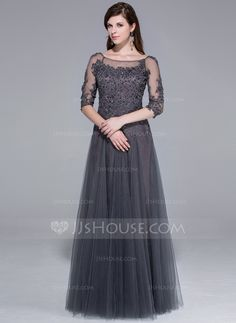 Evening Dresses - $170.49 - A-Line/Princess Scoop Neck Floor-Length Tulle Evening Dress With Lace Beading (017025440) http://jjshouse.com/A-Line-Princess-Scoop-Neck-Floor-Length-Tulle-Evening-Dress-With-Lace-Beading-017025440-g25440?ver=n1ug2t&ves=k41wn